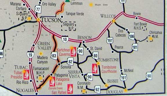 Map Of Eastern Arizona.Exploring Southeastern Arizona